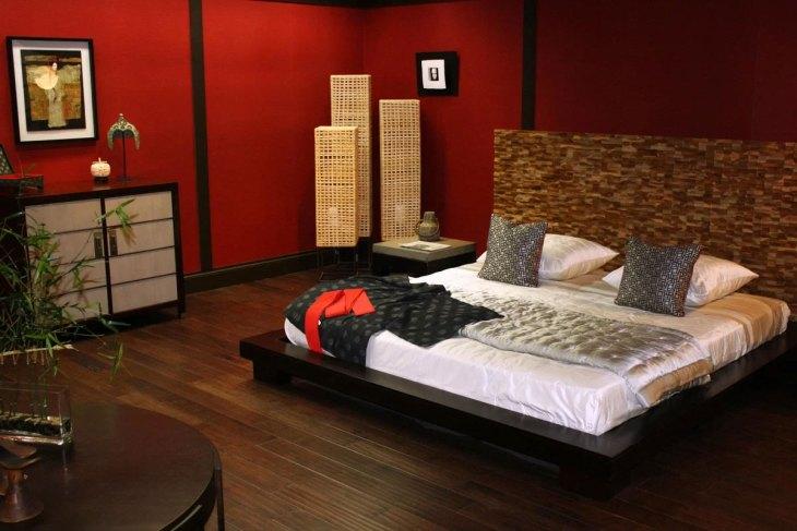 ModernEclectic Red Bedroom Design