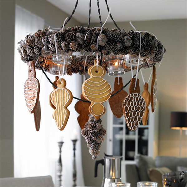 Christmas Pinecones & Gingerbread Chandelier