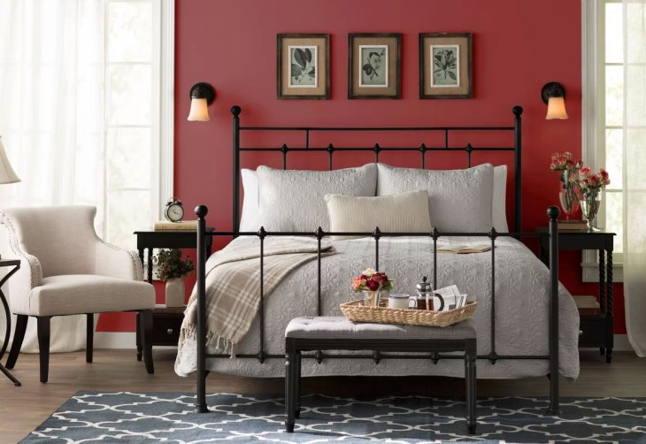 Red Bedroom with Wrought Iron Bed