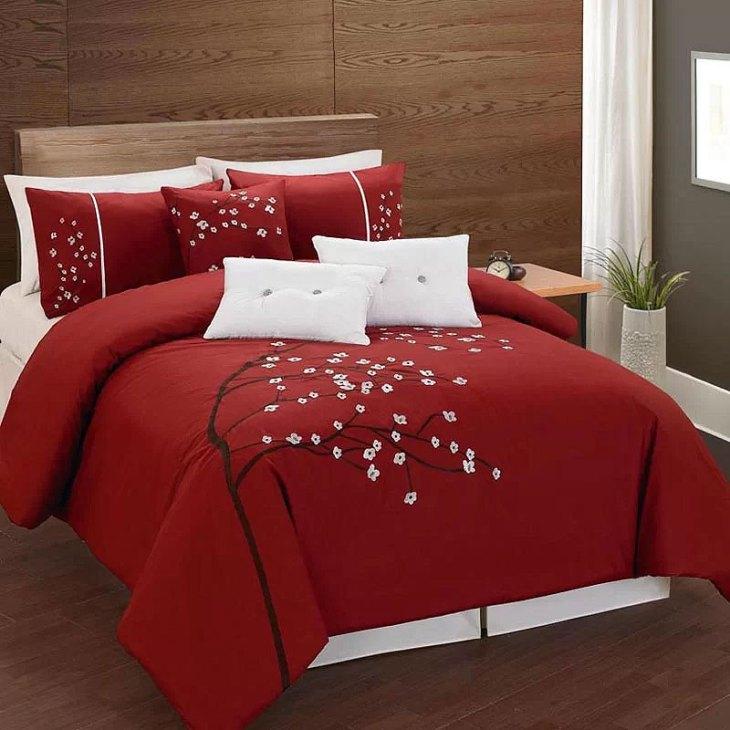Red Floral Bedroom