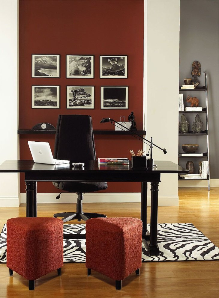 Red Home Office Design