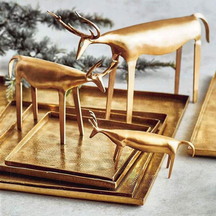 Rustic Brass Reindeer Sculptures