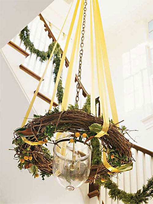 Rustic Twig Wreath Chandelier