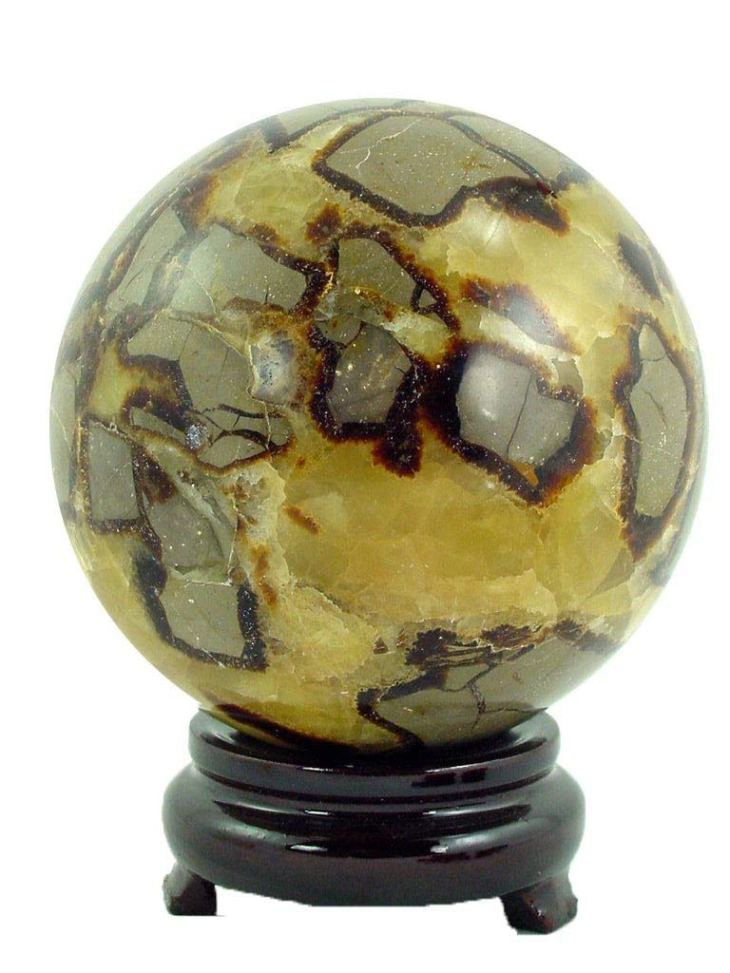 """Septarian Natural Dragon Stone 4.3"""" Carved Healing Sphere"""