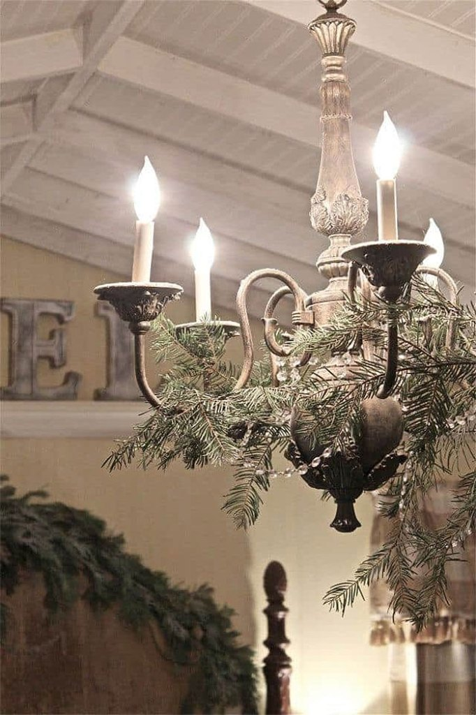 Simple Yet Elegant French Country Chandelier Christmas Makeover