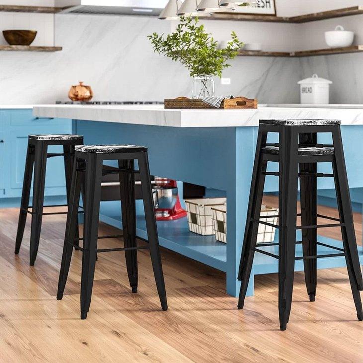SleekIndustrial Blue Kitchen