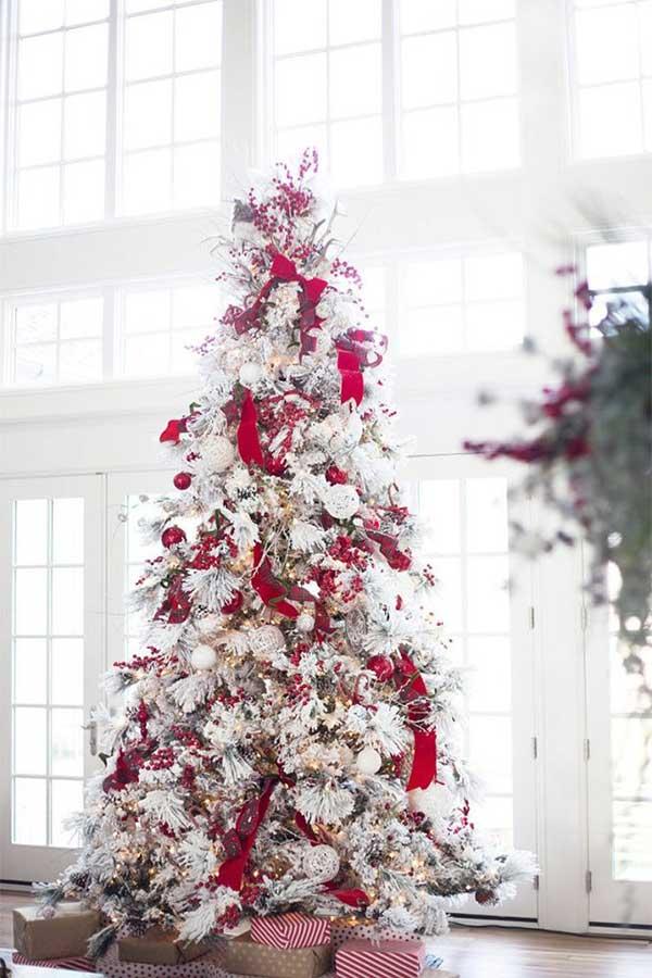 Snowy Red Christmas Tree
