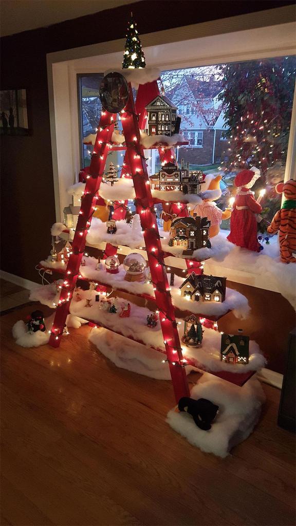 Wooden Ladder Christmas Village