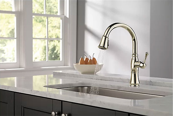 Delta Cassidy Pull Down Low Flow Kitchen Faucet