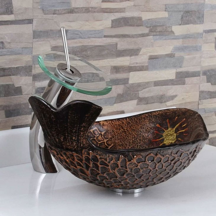 Elite Glass Oval Fish Tale Vessel Bathroom Sink