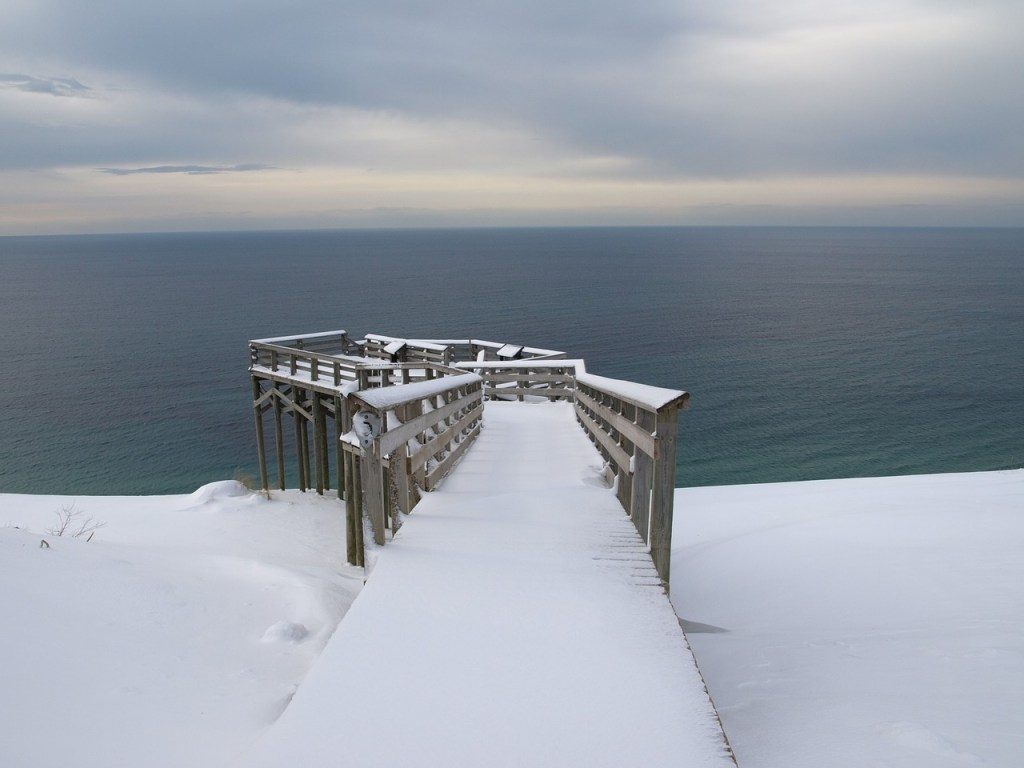 Frozen Michigan Beachfront Winter Scene