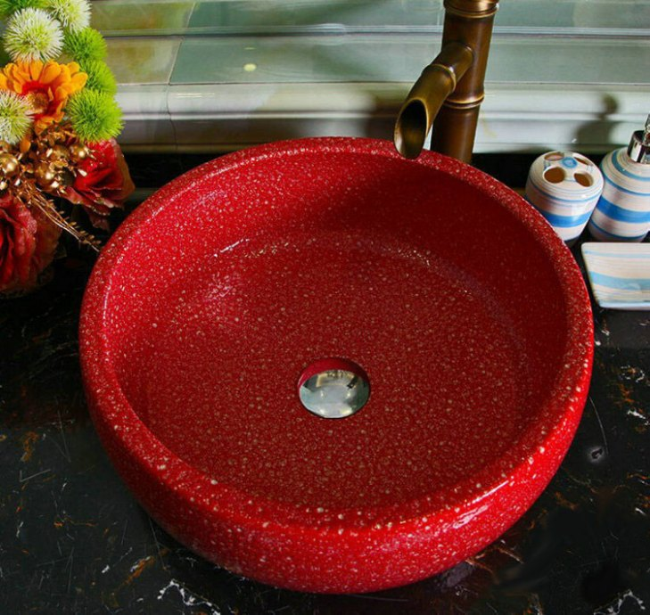 Red Porcelain Art Handmade Vessel Sink