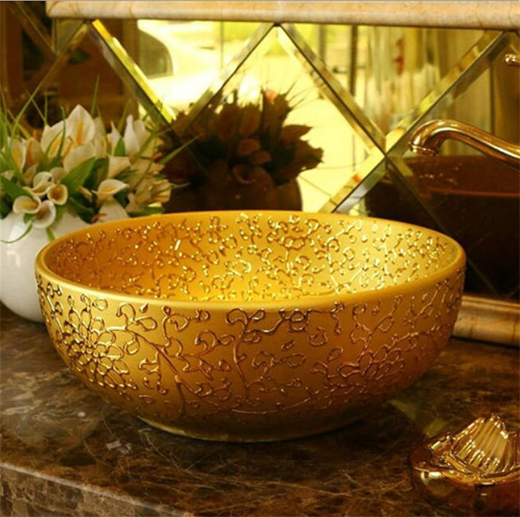 Renalto Hand Painted Gold Vessel Sink