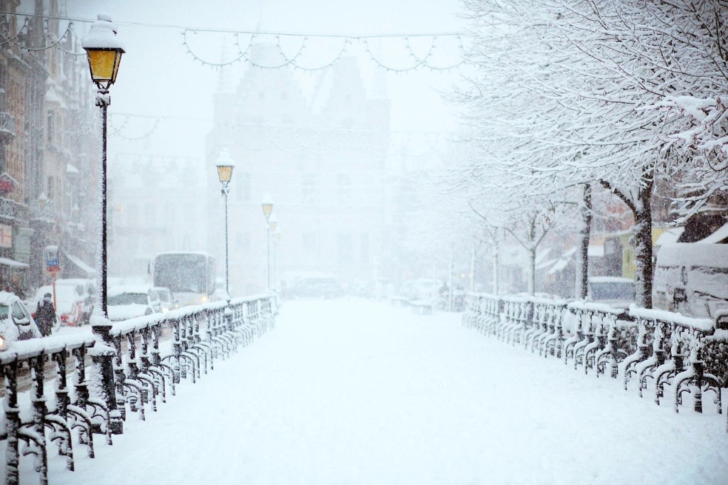 Snow Covered City Streets Winter Scene