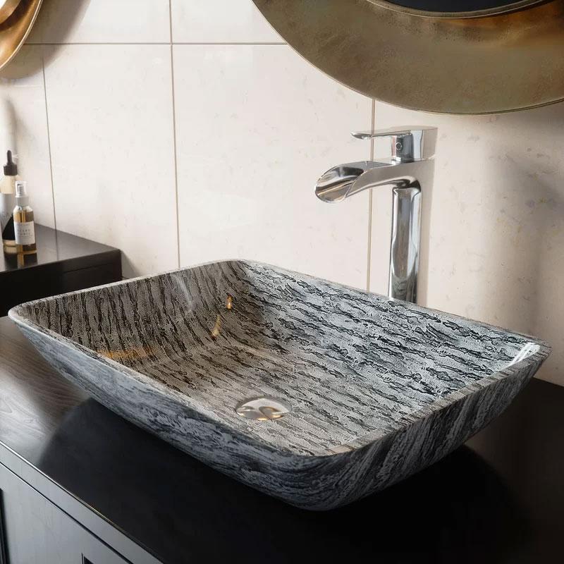 VIGO Slate Glass Rectangular Vessel Bathroom Sink