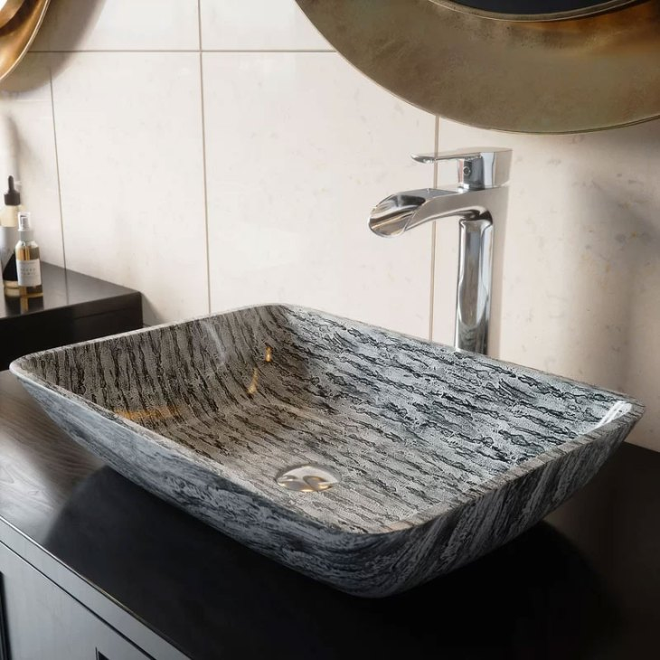 VIGO Slate Glass Rectangular Vessel Bathroom Sink