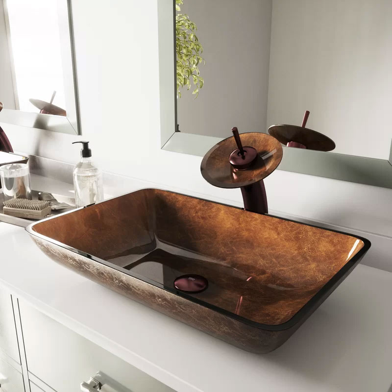 VIGO Tempered Glass Rectangular Vessel Bathroom Sink