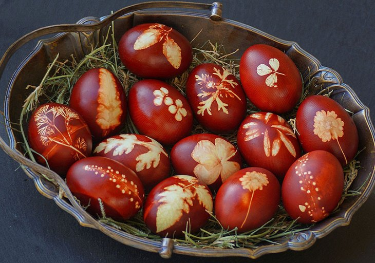 Red Romanian Painted Easter Eggs