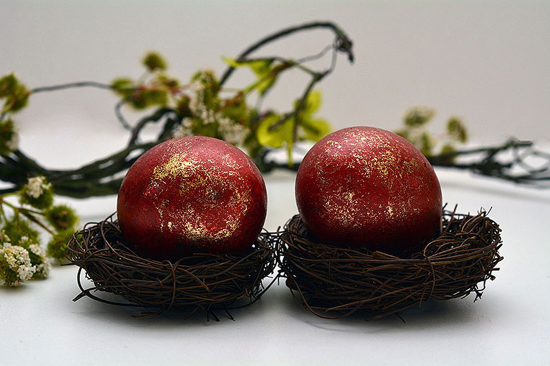 Red and Gold Painted Easter Eggs