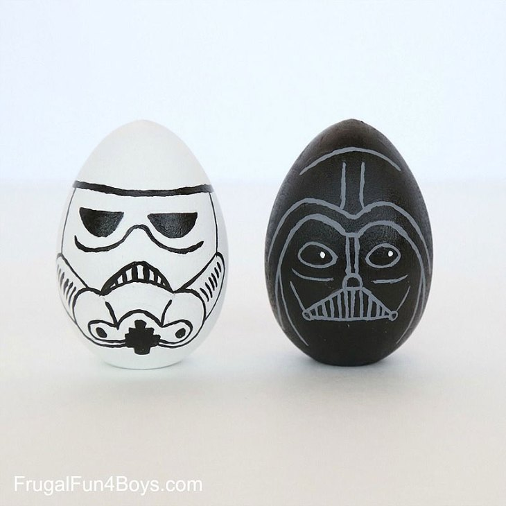Star Wars Storm Trooper and Darth Vader Painted Easter Eggs