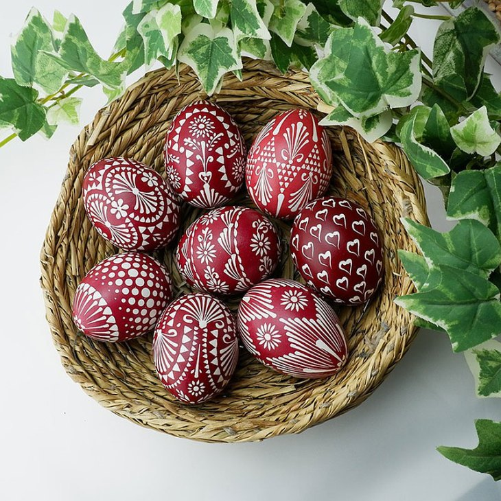 Red & White Sorbian Painted Easter Eggs