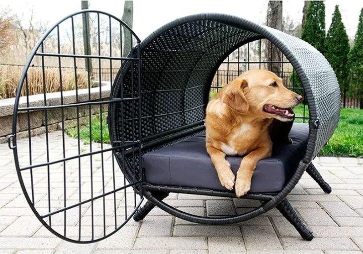 Newfoundland Circular Rattan Dog Crate