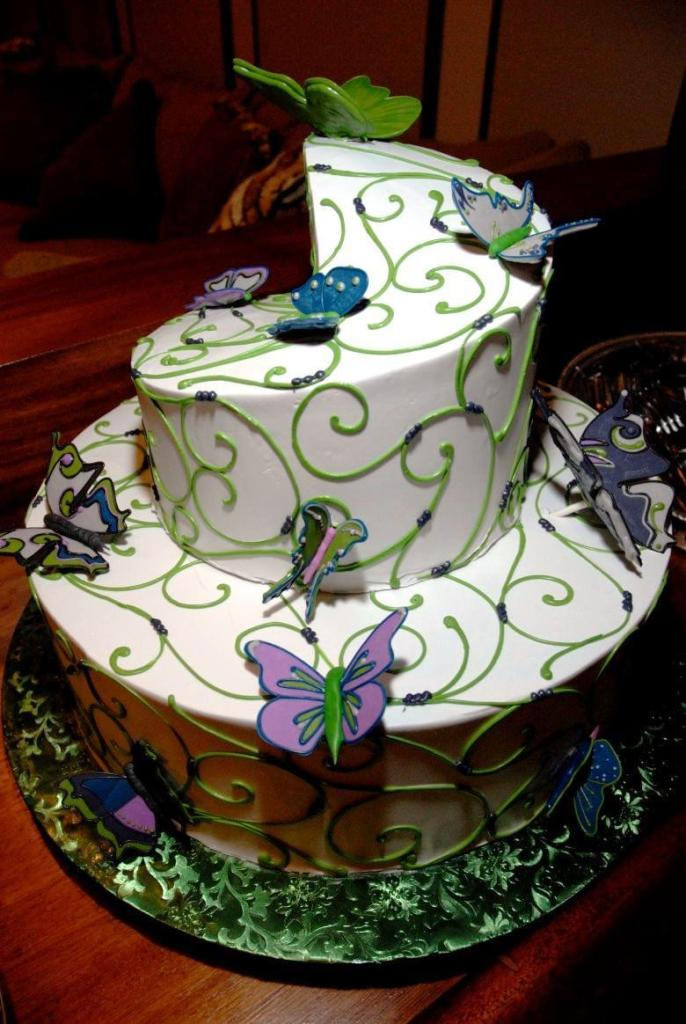 Beautiful Butterfly Garden Cake