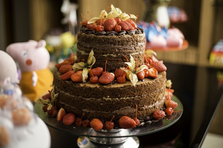 Exposed Edge Chocolate Strawberry Cake