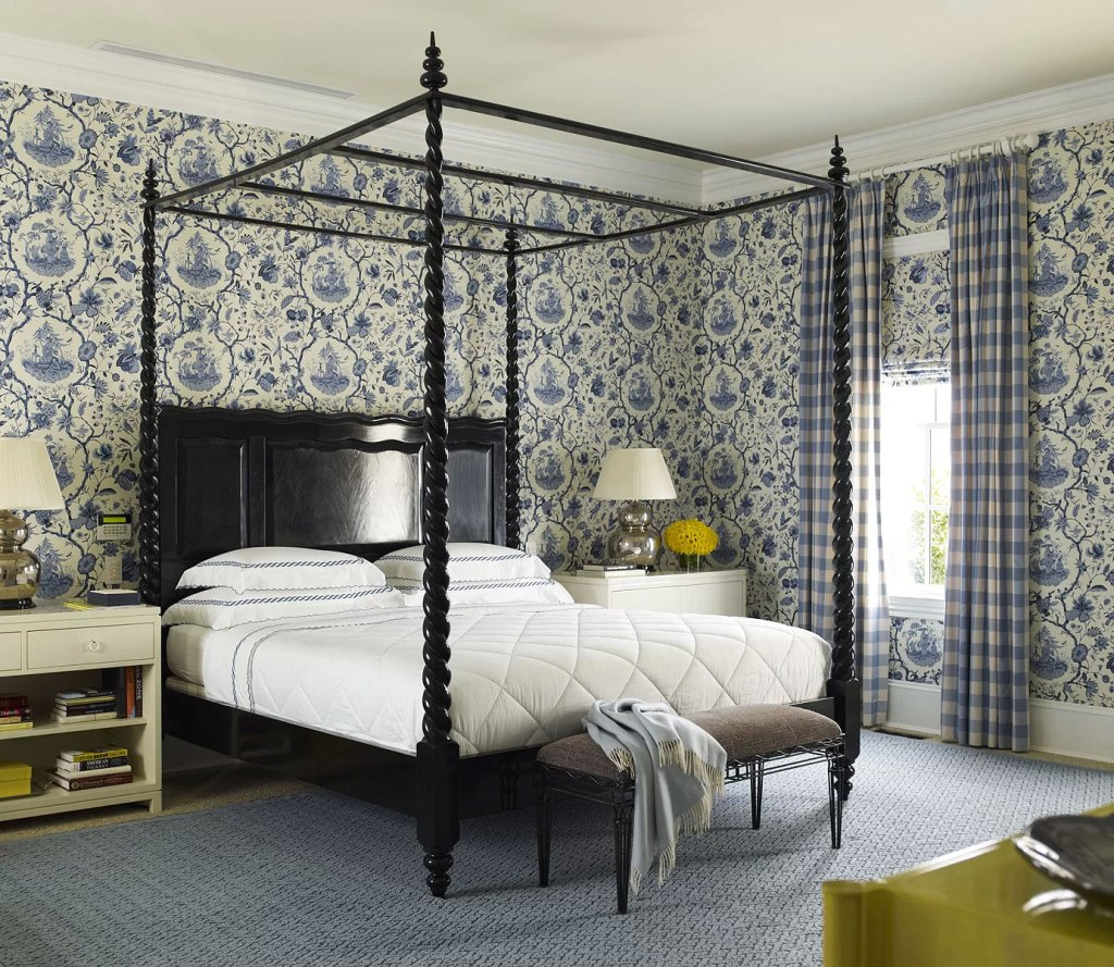 French Country Bedroom Design with  Canopy Bed
