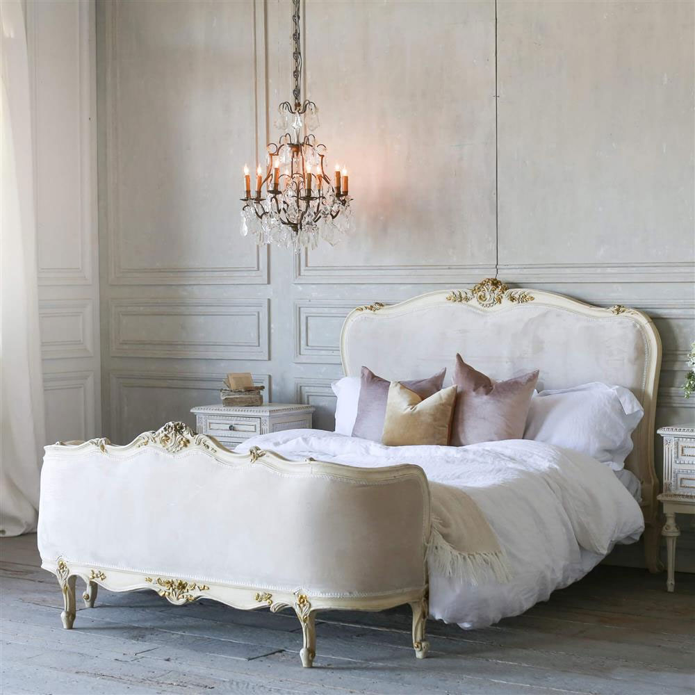 French Country Style Vintage Velvet Bed