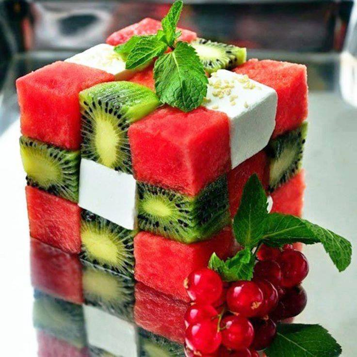 Fruit and Cheese Rubik's Cube