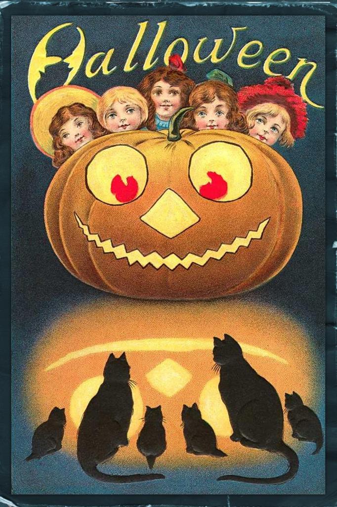 Halloween Cats & Kids Vintage Halloween Poster