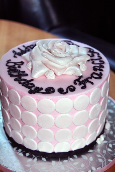 Pink & White Polka Dot Birthday Cake
