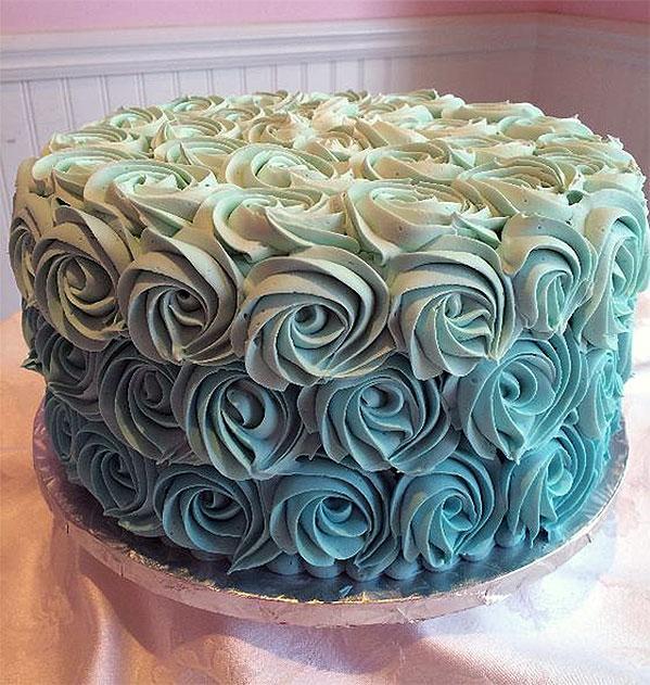 Tiffany Blue Ombre Rosette Cake