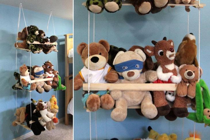 DIY Hanging Stuffed Animal Storage
