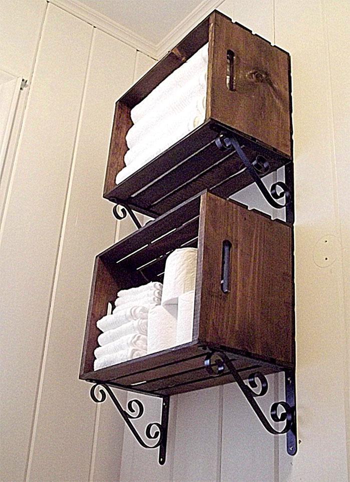 Easy DIY Wood Crate Bathroom Shelves