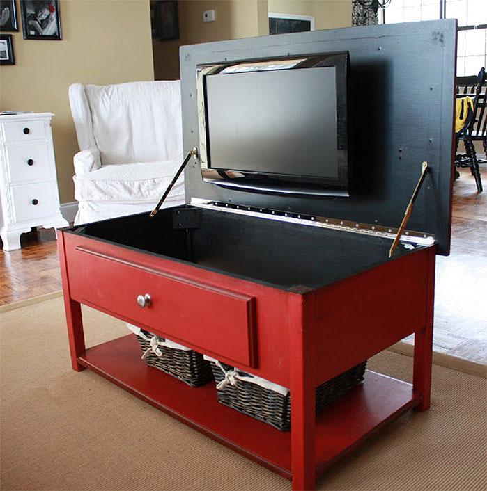 Hidden TV Coffee Table