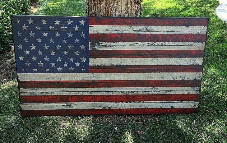 Large Distressed Rustic Wood American Flag