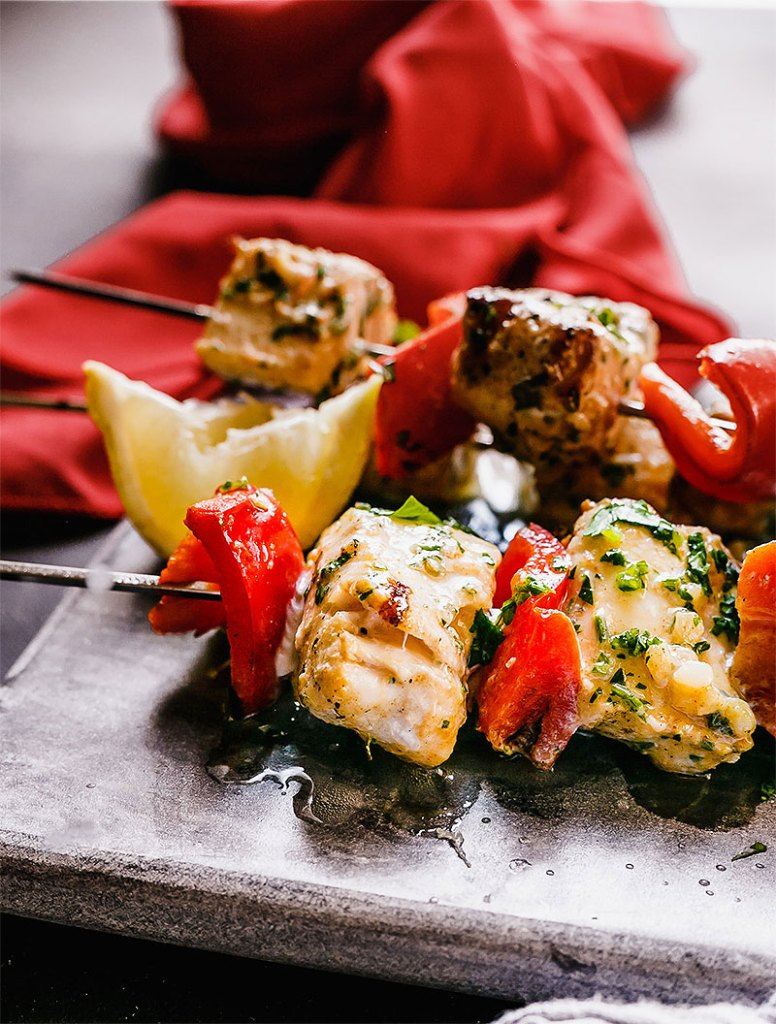 Moroccan Style Grilled Fish Kebabs