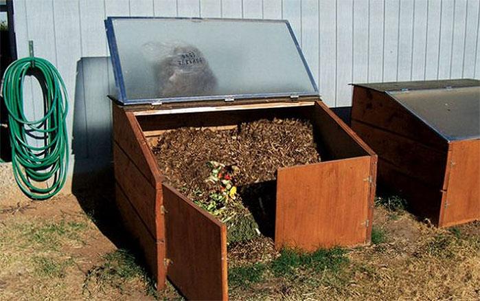 Recycled Shower Door Compost Bin
