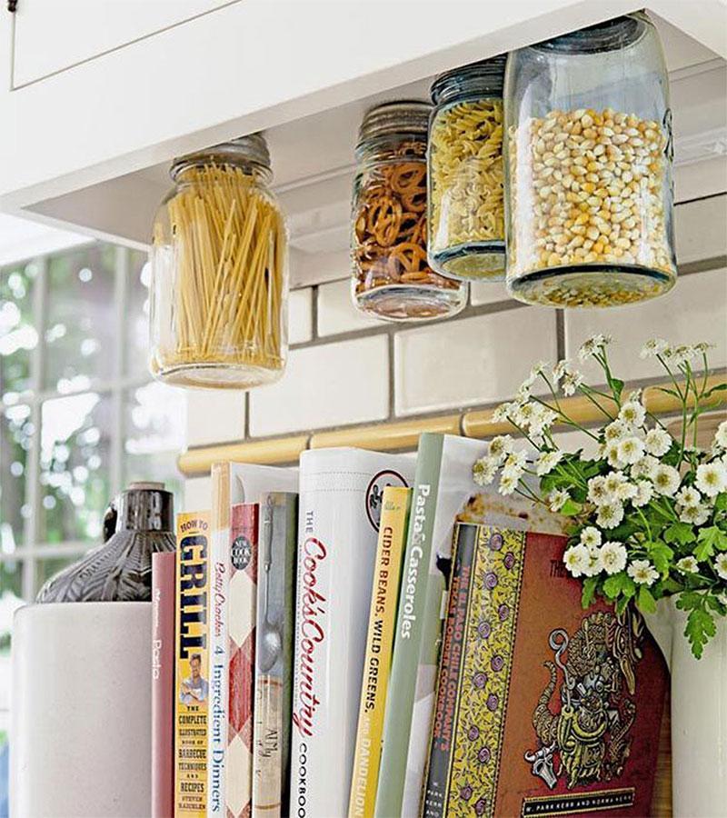 Under-Cabinet Hanging Mason Jar Storage
