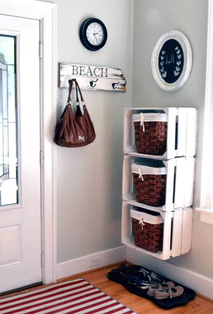 Wooden Crate Floating Mudroom Cubbies