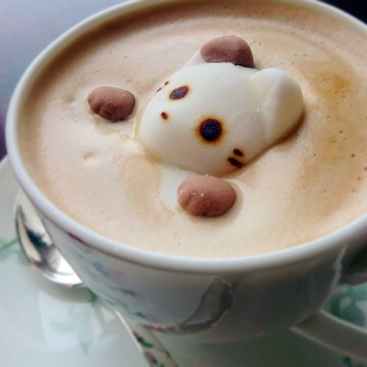 3D Kitten Foam Latte Art
