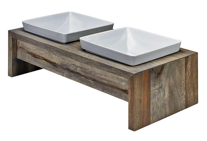 Artisan Wood Double Bowl Dog Feeding Station