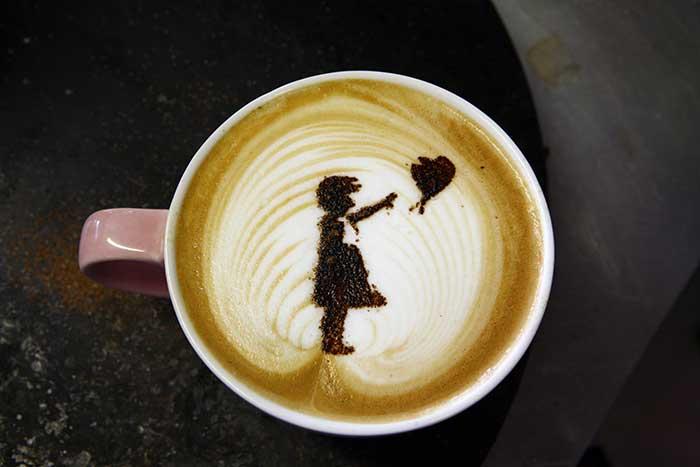 Banksy Girl With Balloon Latte Art