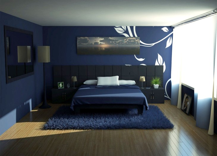 Blue Bedroom Walls with White Mural