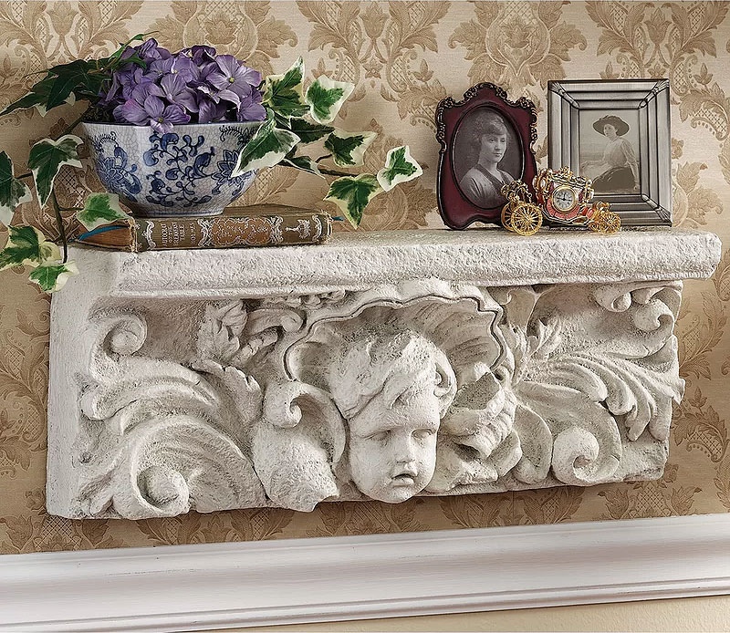 Cathedral Cherub Sculptural Floating Wall Shelf
