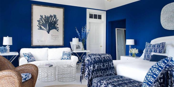 Coastal Blue Bedroom in the Hamptons