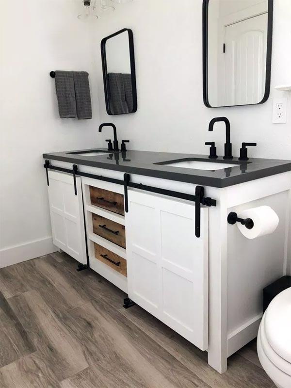 DIY Barn Door Bathroom Vanity