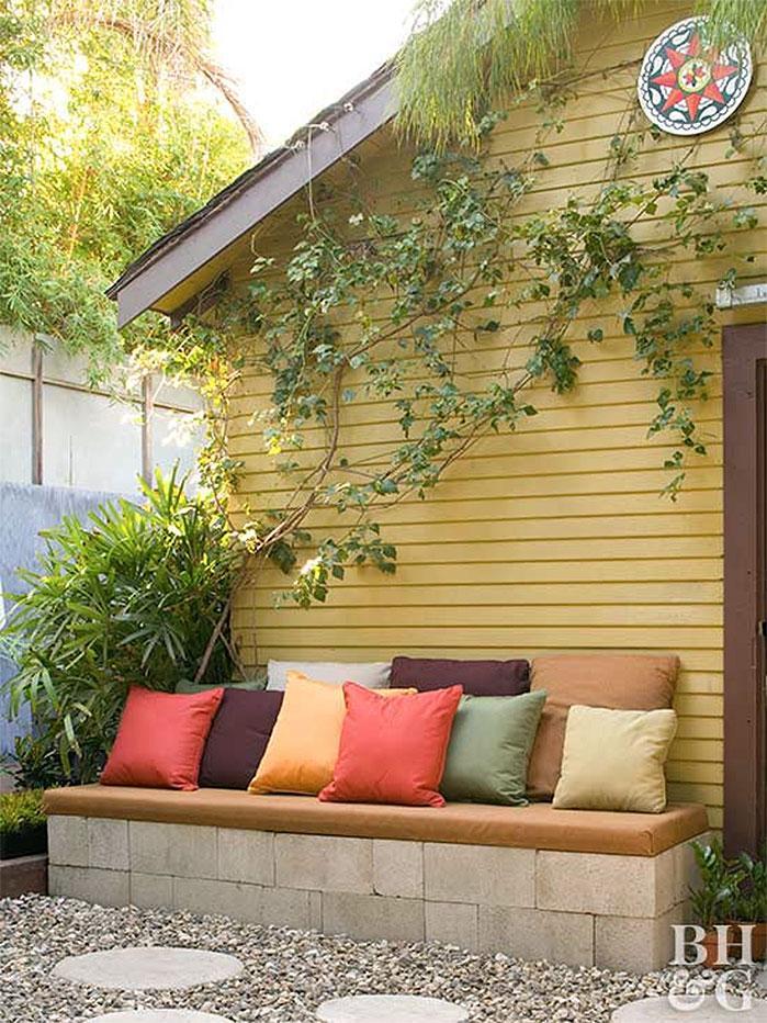 DIY Concrete Block Bench Seat